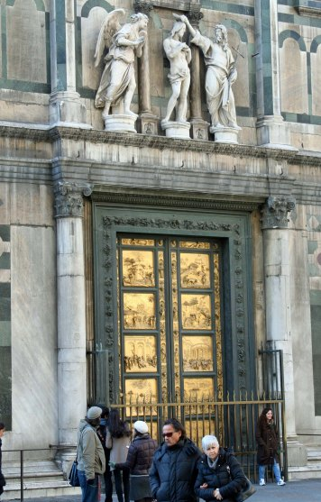 Ghiberti's Bronze Doors on the Baptistery in Florence. (Photo by Peggy Mekemson)
