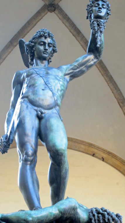This sculpture by Benvenuto Cellini shows Perseus holding up the head of Medusa, which he had just lopped off. Hopefully her eyes are closed. Otherwise you would be turned to stone.