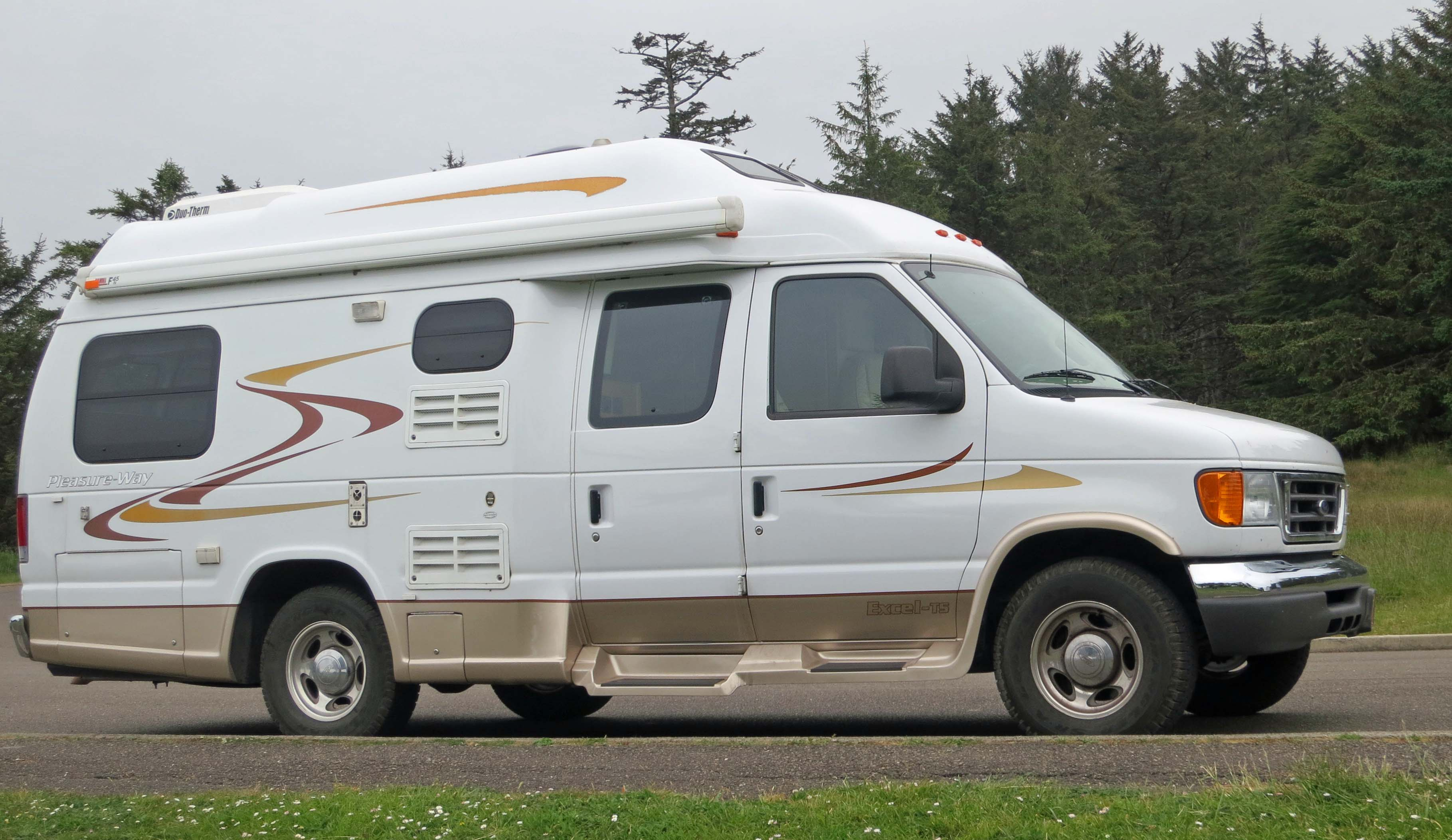 Our 22-foot van, Quivera, waits patiently for us at Cape Arago, just south of Sunset Bay, Oregon.