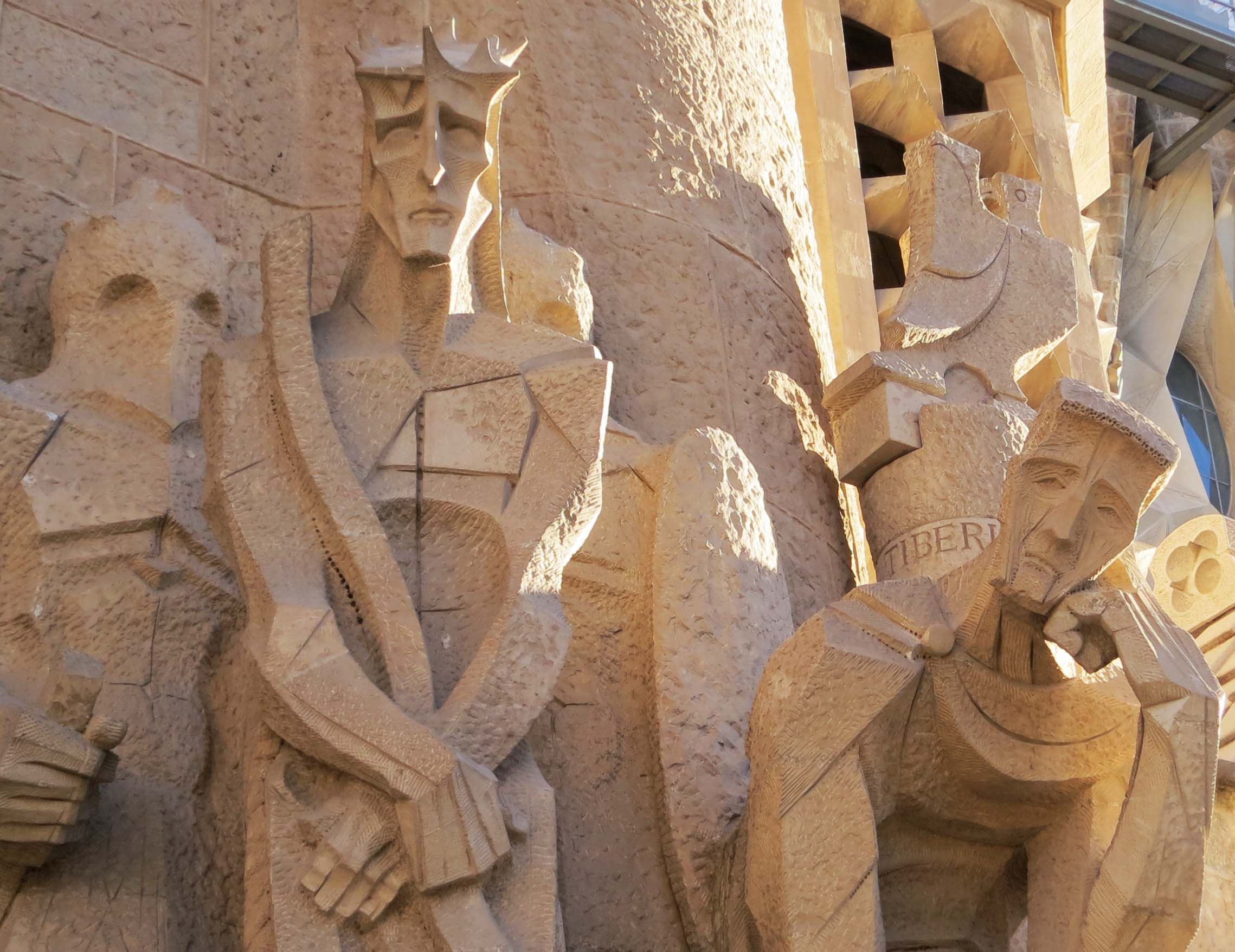 Subirachs sculptures on Sagrada Familia in Barcelona.