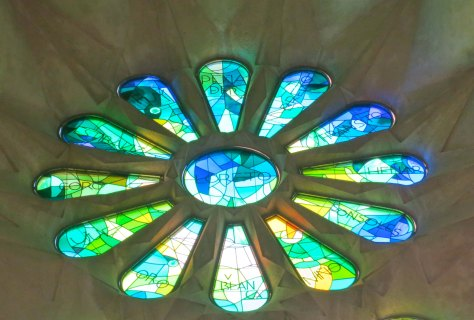 Stained glass windows in Sagrada Familia, Barcelona