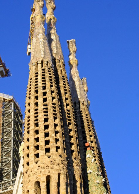 Sagrada Familia towers representing Matthew, Mark, Luke and John.