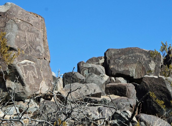 Groups of petroglyphs found at Three Rivers Site, New Mexico.