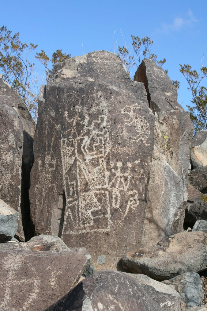 Petroglyph grouping at Three rivers Petroglyph site in southern New Mexico.