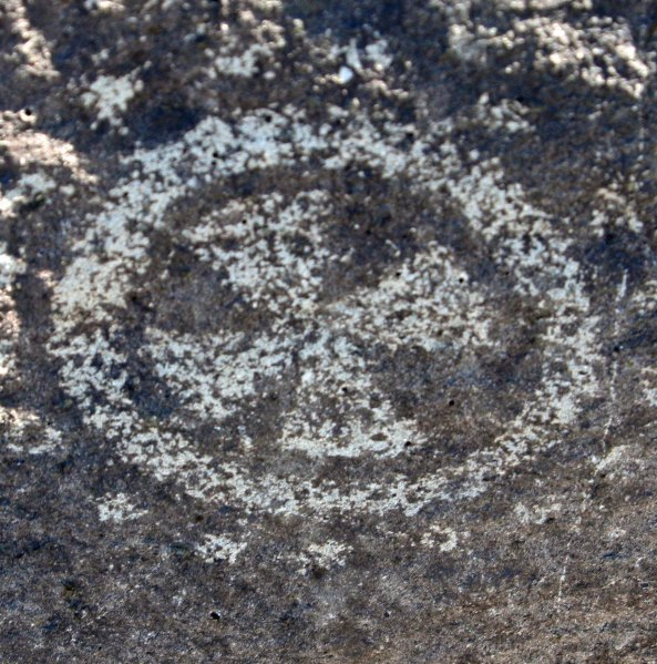 Petroglyph circle with cross found at Three Rivers Petroglyph site.