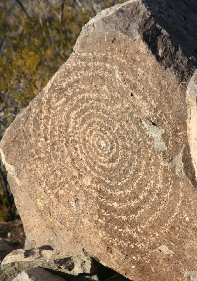 Large spiral circle at Three Rivers Petroglyph site in New Mexico.