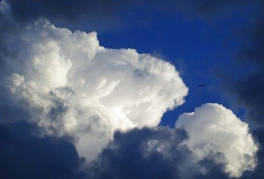 Cumulous clouds over Mediterranean Sea.