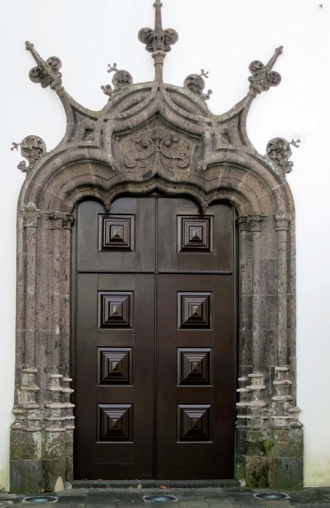 Church door in Ponta Delgado in the Azores