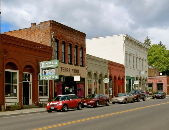 Street scene in downtown Jacksonville, Oregon.
