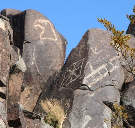 Eagle petroglyph at Three Rivers Petroglyph site in southern New Mexico.