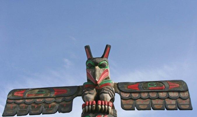 Totem pole Thunderbird on Vancouver Island
