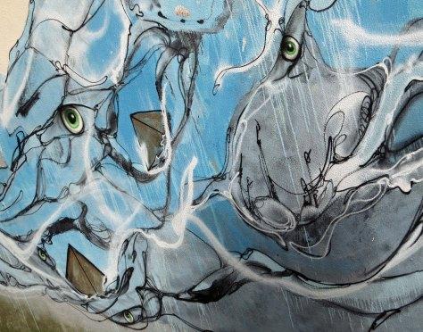 Whale mural in Ponta Delgado