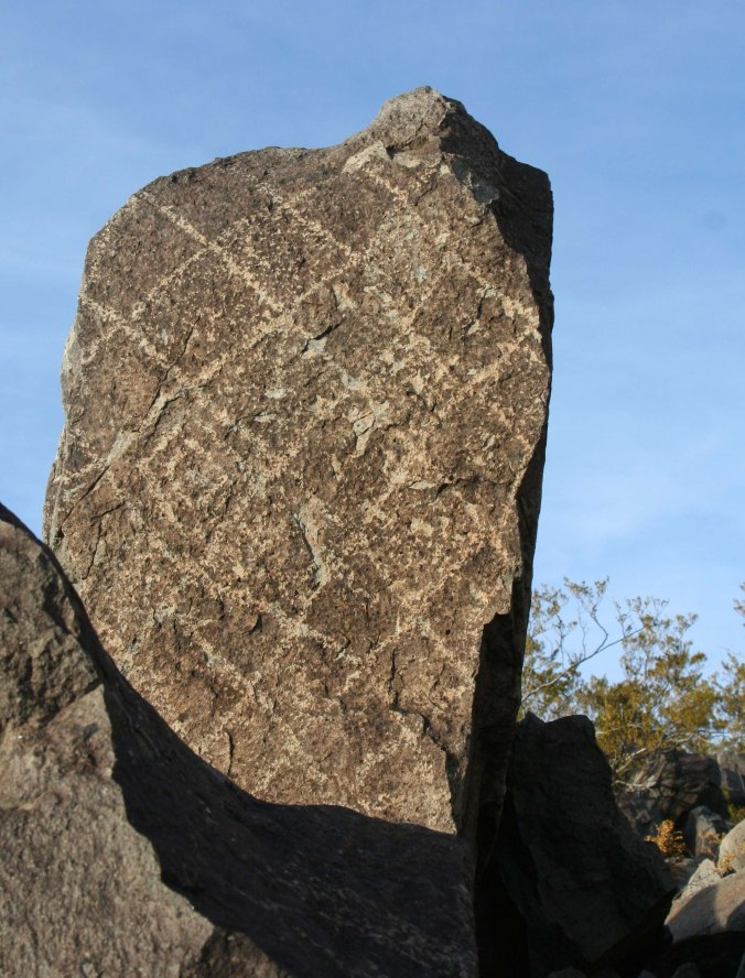 Petroglyph of squares at Three Rivers Petroglyph site in southern New Mexico.