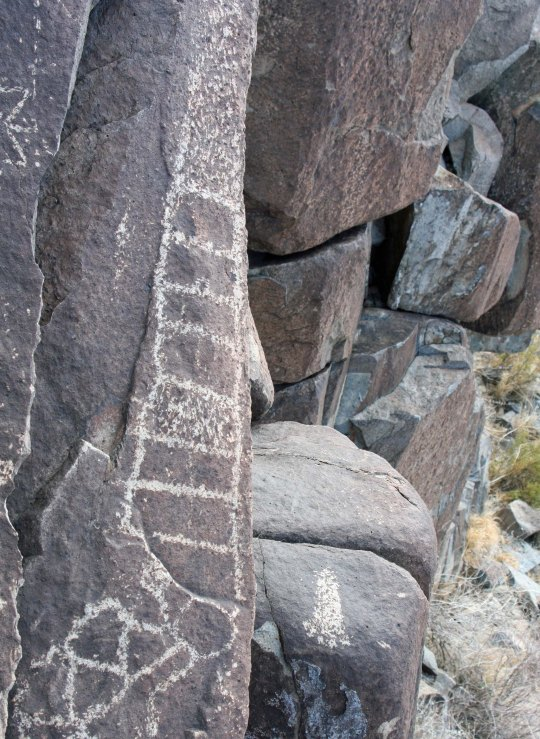 Petroglyph found at Three Rivers Petroglyph site in New Mexico.