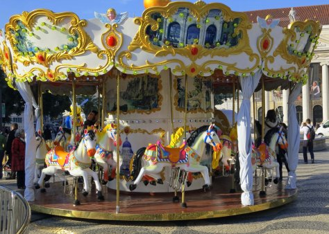 The merry-go-round on Rossio Square was equally colorful.