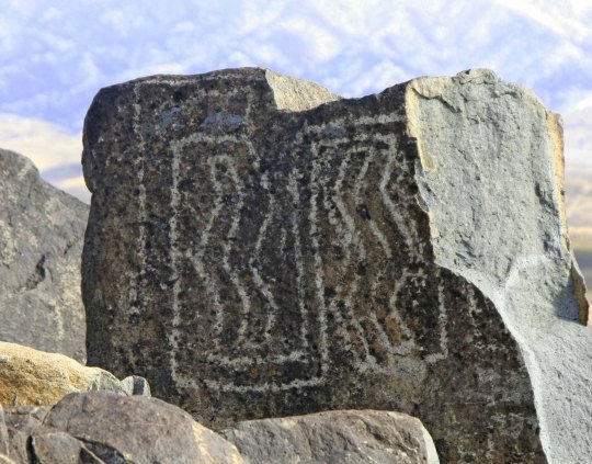 Petroglyph maze at Three Rivers Petroglyph site.