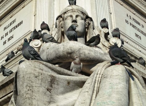 As everyone knows, pigeons have a fondness for statues. We found these in _____ Square at the end of Rua Augusta.