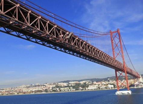 The Ponte 24 de Abril serves as the gateway to Lisbon. It is patterned after the Bay Bridge across the San Francisco Bay.