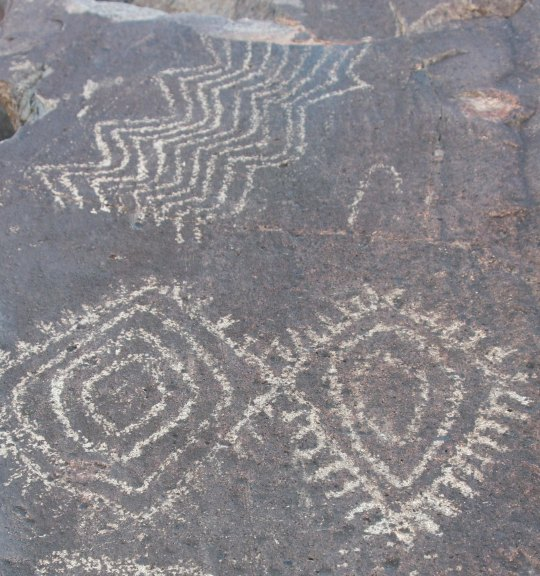 Three Rivers Petroglyph site rock art.