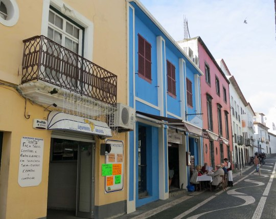 Street scene in Ponta Delgado on the Island of San Miguel in the Azores.