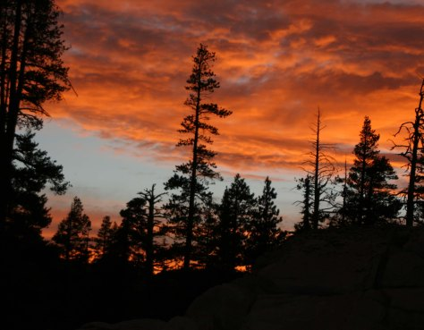 Sunset north of I-80 in the Sierra Nevada Mountains of California