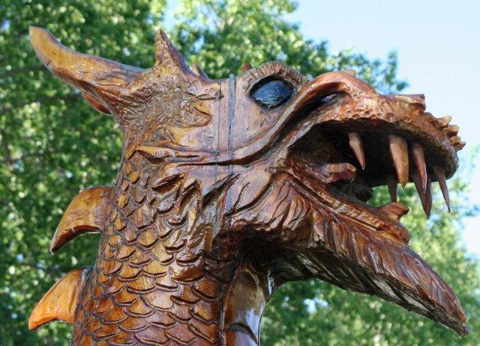A close up of the head on Peggy's dragon. (Photo by Peggy Mekemson)