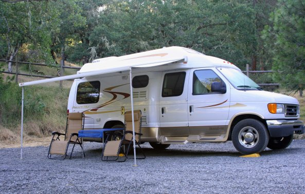 Our van, Quivera, has her own pad on the upper part of our property in Oregon.