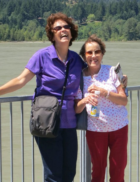 Peggy and Linda share a laugh on the edge of the Fraser River at Hope BC.