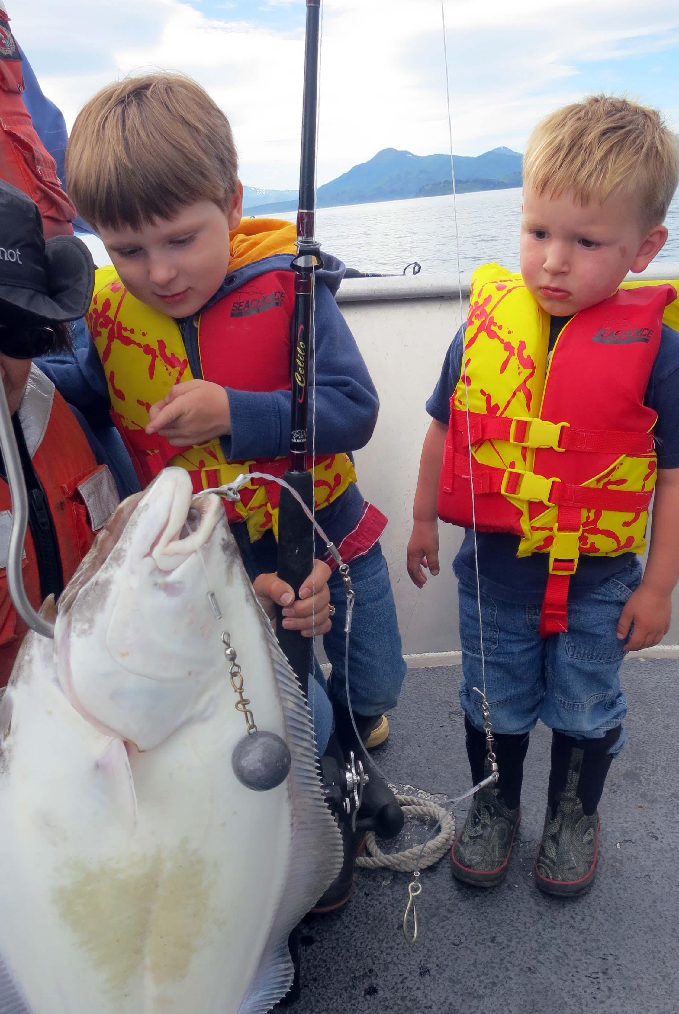 Fishing for halibut in Chiniak Bay, Alaska.