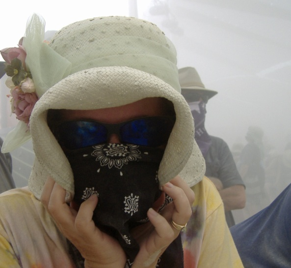 Dust storm invades Center Camp at Burning Man.