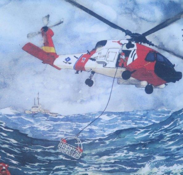 Artistic rendition of H-60 rescue effort at sea.