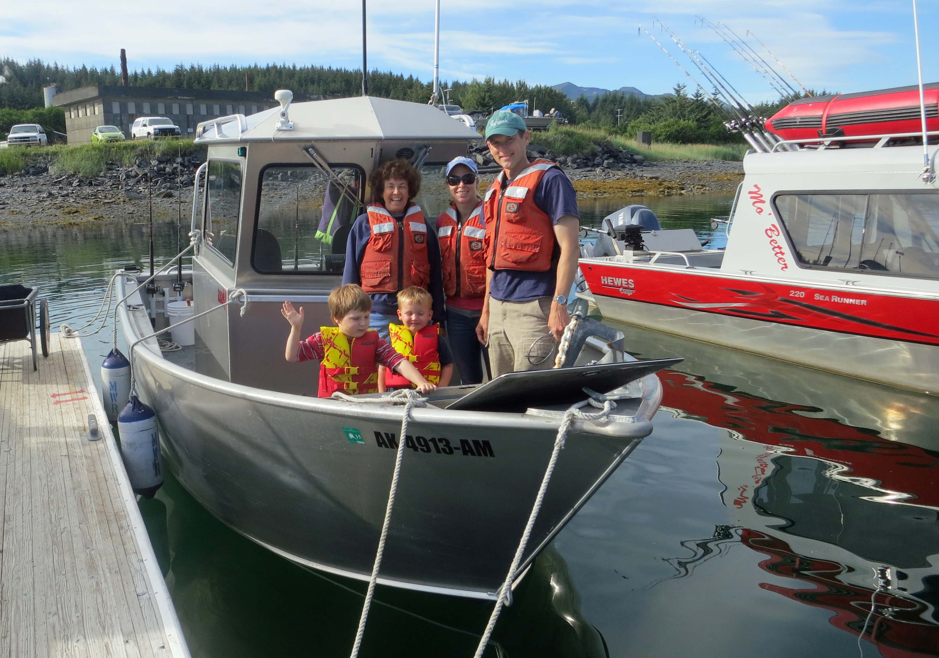 Our brave crew prepares to head out to sea on our Halibut fishing expedition. Connor, Chris and Tony are in the first row. Peggy and Cammie are in the second row.