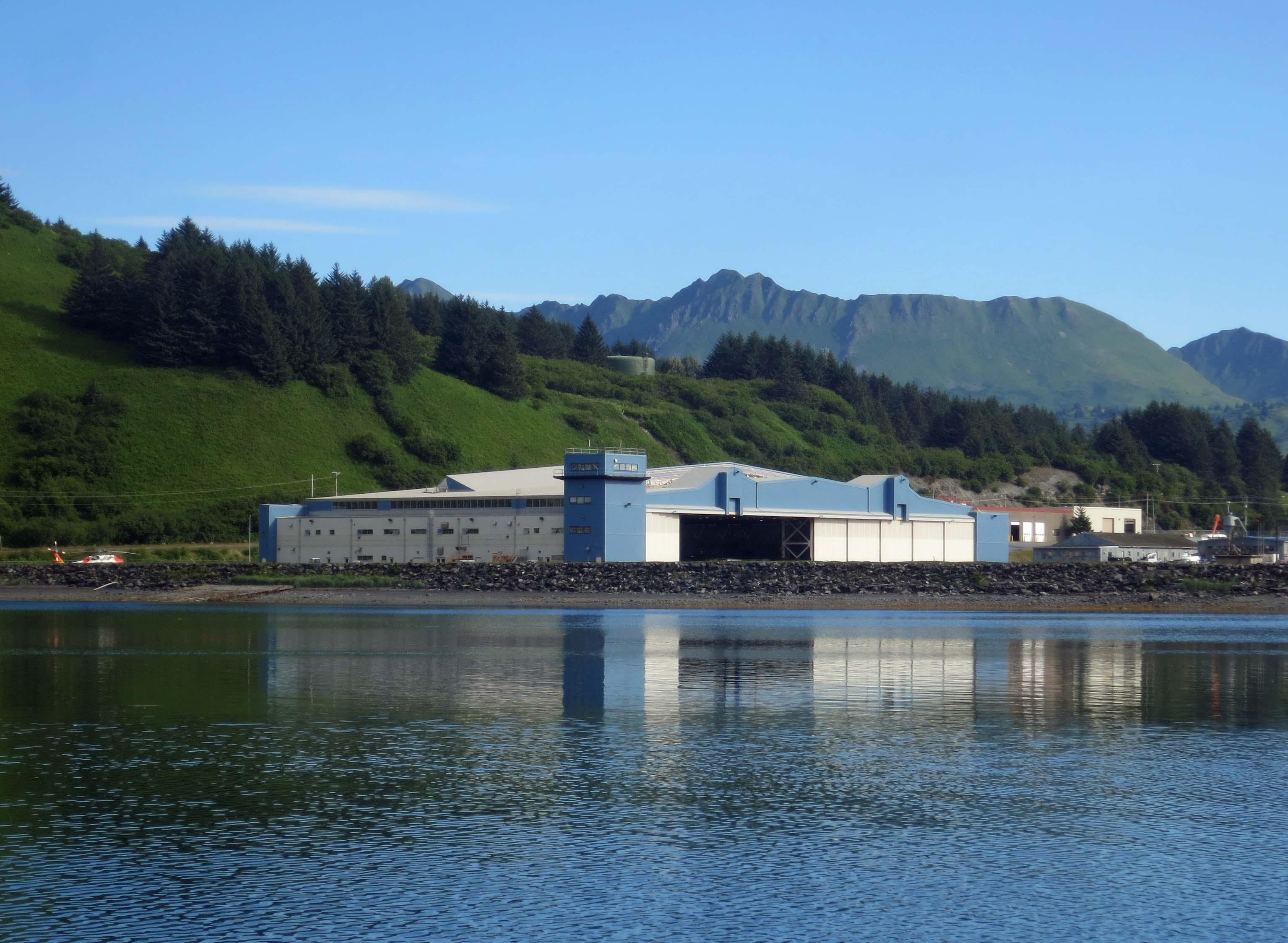 The Coast Guard's helicopter hangar/maintenance facility on Kodiak Island.