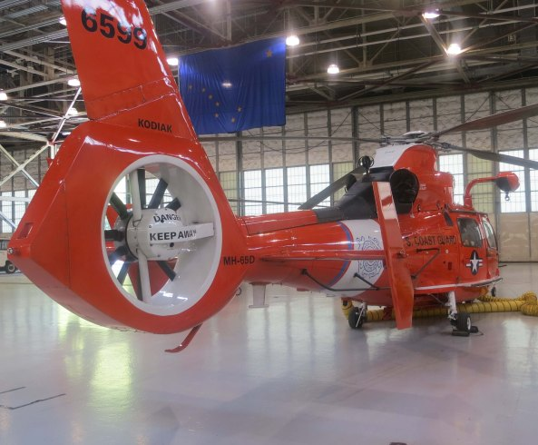 The HH-65, a smaller short-range helicopter is designed to fly off of Coast Guard Cutters and accompanies them on their deployments.