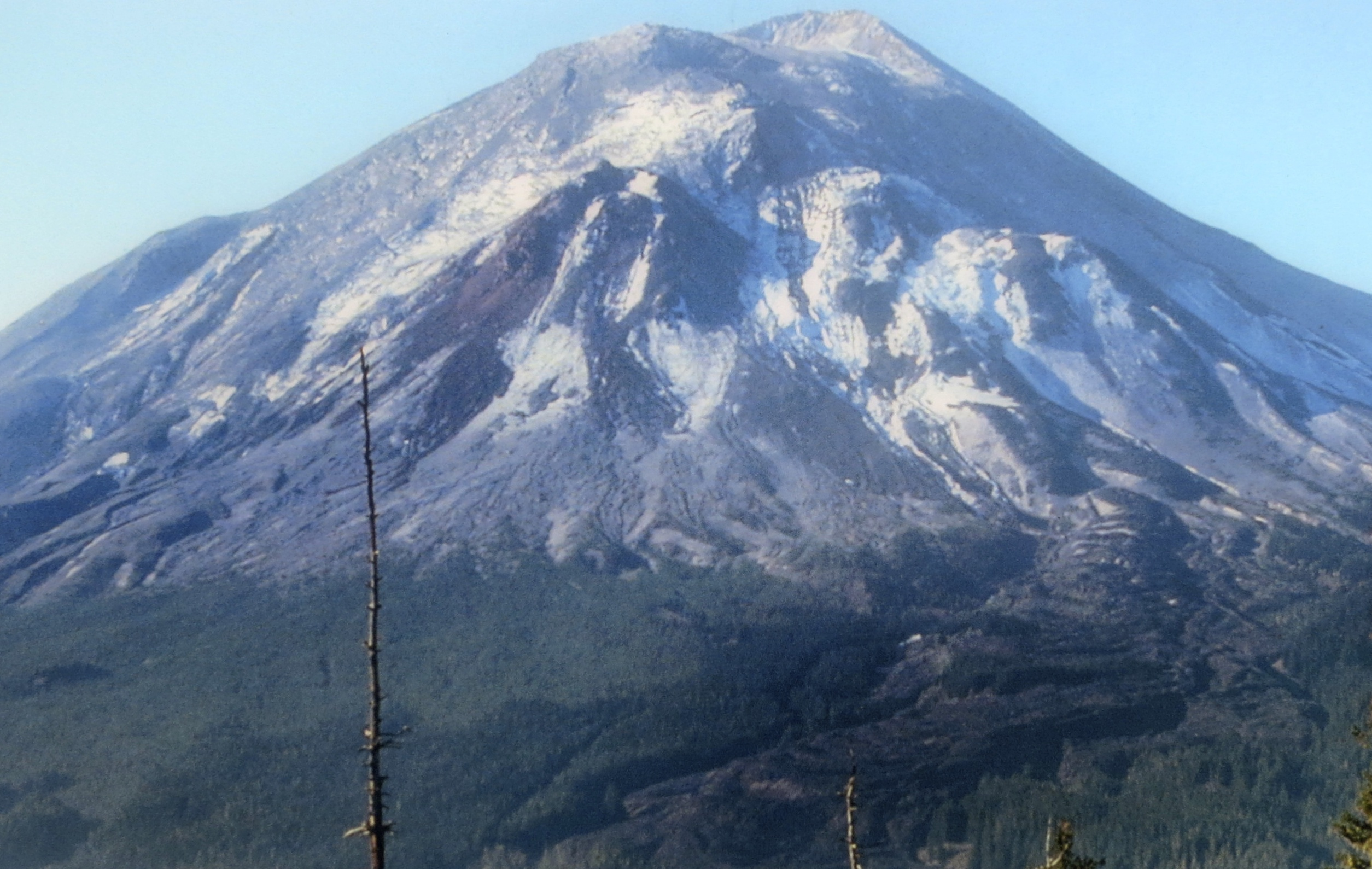 This photo on display at the Mount St. Helens National Monument shows the mountain before the explosion.