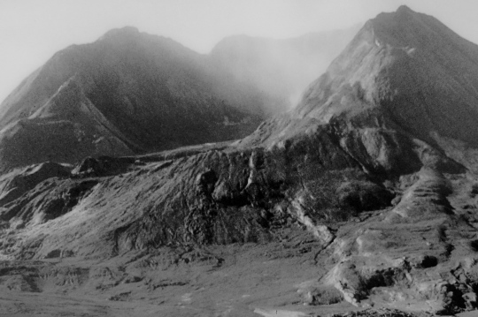 Another photo at the Monument shows Mt. St. Helen four months after the eruption.