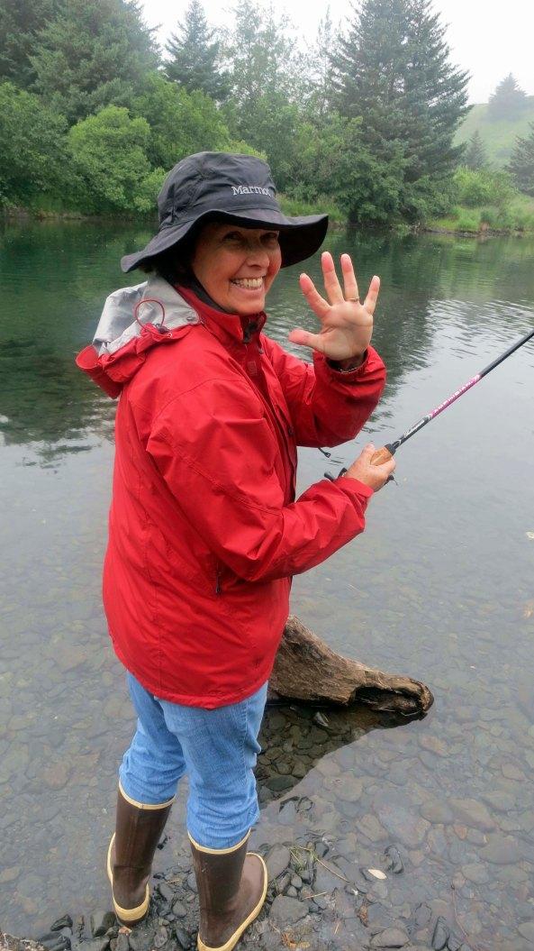 Fishing on the Buskin River on Kodiak Island, Alaska.