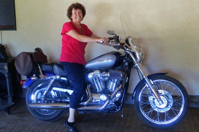Meanwhile, Peggy had decided she had to try the Harley out for size.