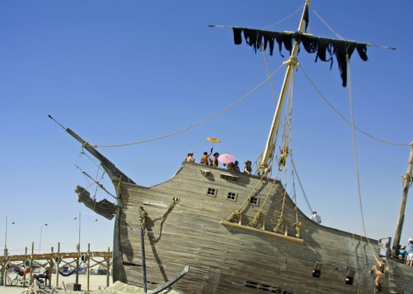Pirate ship at Burning Man built by the Pier Group at the Generator in Reno, Nevada.