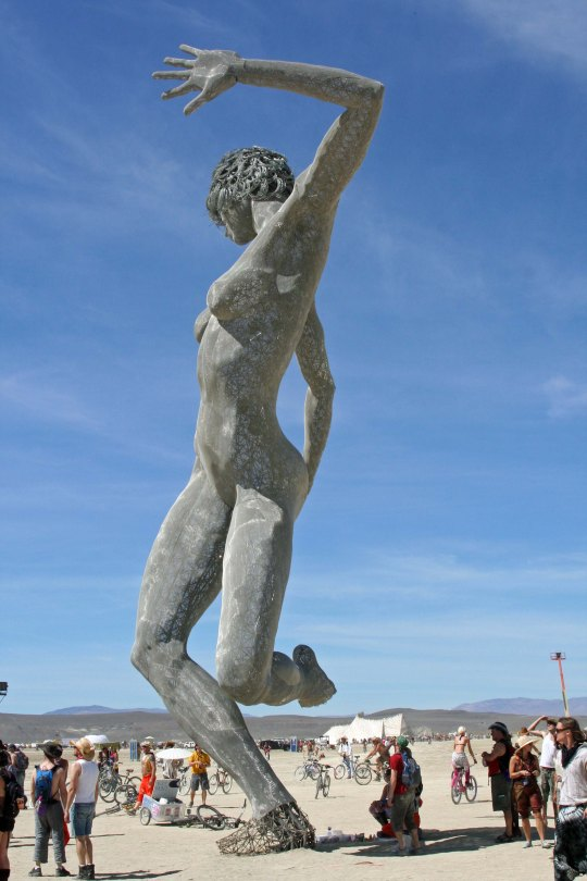 The art at Burning Man can be spectacular, such as this tall, nude woman.