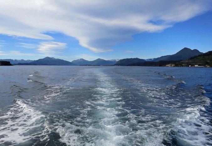 Boat wake in Chiniak Bay, Kodiak.