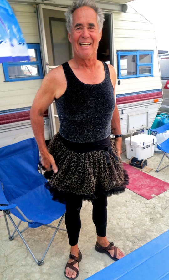 Later we were semi-invited to a wedding where wearing black was requested. Adios didn't have ant black so his wife Punkin outfitted him. You are allowed to have multiple personalities at Burning Man.