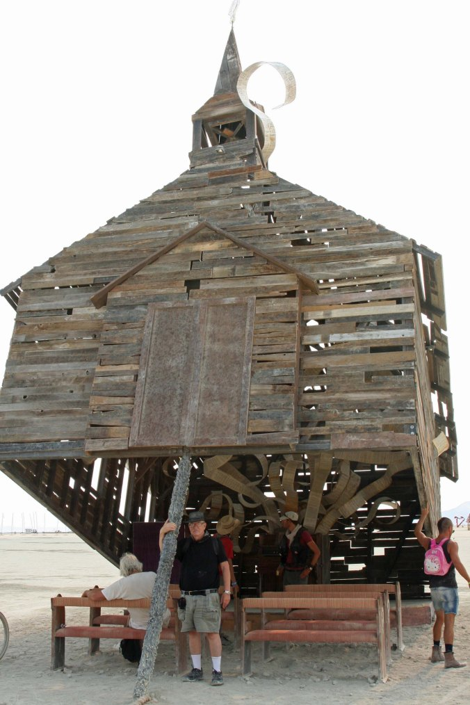A front view of Church Trap with me holding up the trap pole. Does this make me a pillar of the church? (Photo by Peggy Mekemson)