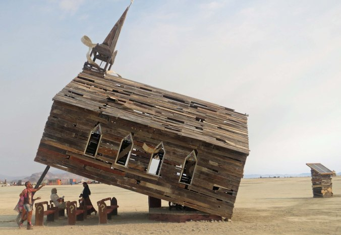 A side view of Church Trap at Burning Man 2013.