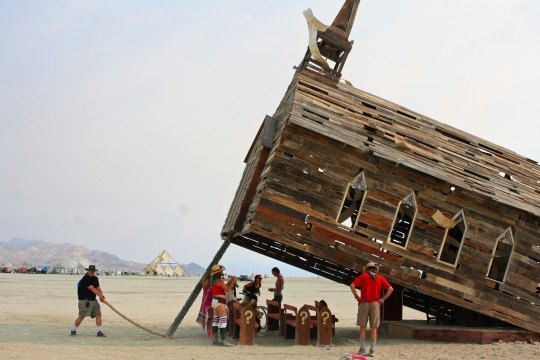 Curtis Mekemson springs the Church Trap at Burning Man 2013.