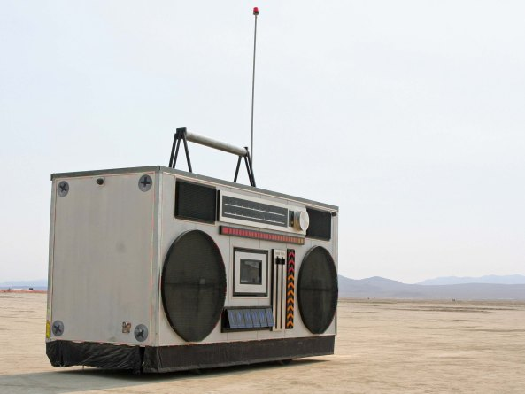 I couldn't capture the fast moving lowrider, but we did find a 15 foot high boombox wandering the Playa as a mutant vehicle. (Photo by Peggy Mekemson.)