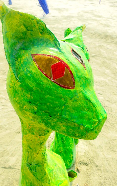 Alien grren cats at Burning Man 2013