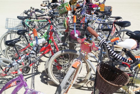 One of numerous bike racks outside of the Center Camp Cafe provides an idea of how many people visit the Cafe.