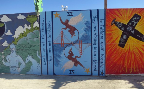 Murals at Burning Man's Center Camp 2013