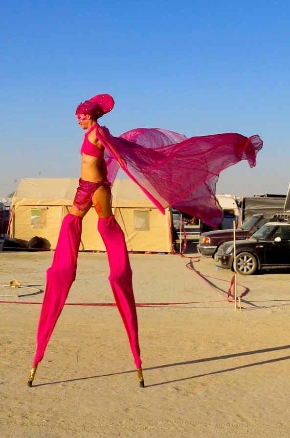 This woman strolled by our camp on stilts and performed a graceful dance with her cape. Performance art is everywhere in Black Rock City.